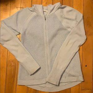 Baby blue athleta knit zip up